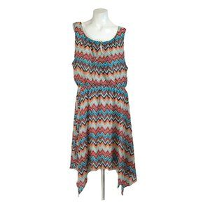 Love Cameron Chevron Sleeveless Asymmetrical Dress
